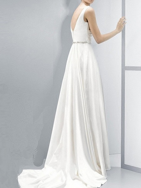 Sheath \ Column Wedding Dresses V Neck Sweep \ Brush Train Chiffon Sleeveless Beach_3