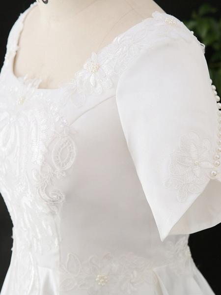 A-Line Wedding Dresses Scoop Neck Floor Length Satin Half Sleeve Formal Elegant_7