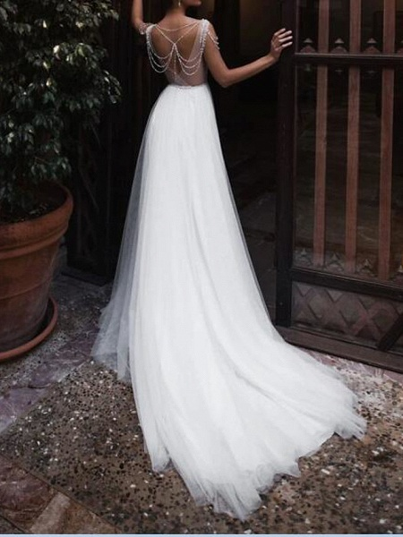 A-Line Wedding Dresses Jewel Neck Court Train Chiffon Lace Tulle Sleeveless Beach Boho Sexy See-Through_2