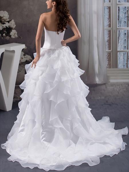 A-Line Strapless Court Train Organza Satin Strapless Wedding Dresses_3