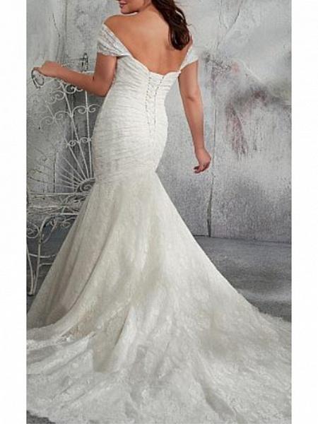 Mermaid \ Trumpet Wedding Dresses Off Shoulder Court Train Chiffon Lace Cap Sleeve_2