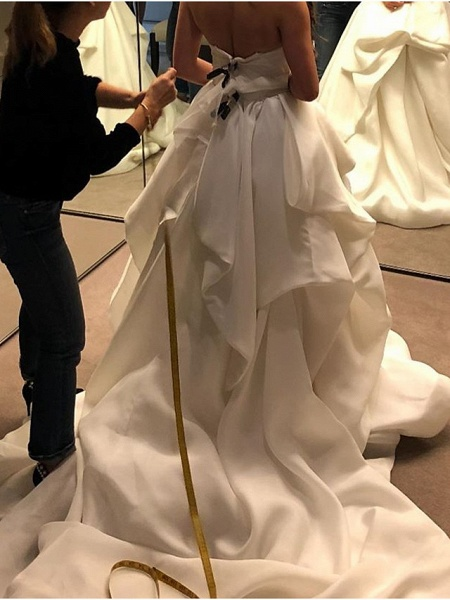 Ball Gown Wedding Dresses Strapless Court Train Polyester Sleeveless Country Plus Size_2