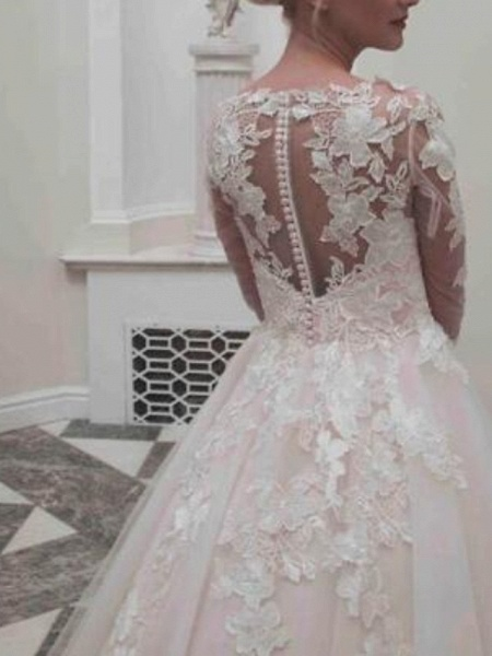Ball Gown Wedding Dresses Jewel Neck Tea Length Lace Tulle Long Sleeve Casual Vintage Little White Dress See-Through Cute_2