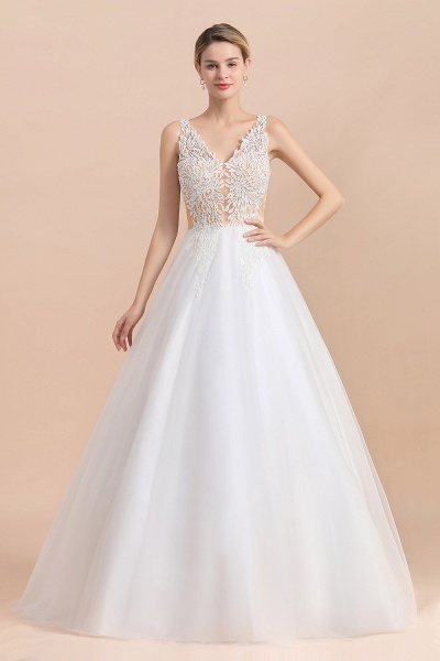 A-line Straps Tulle Appliques V-Neck Lace Boho Wedding Dress