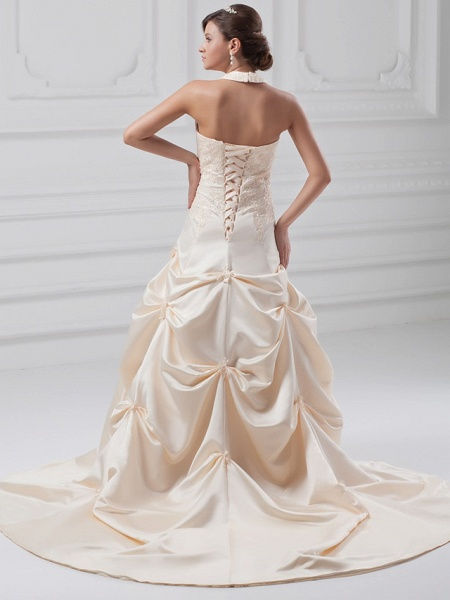 A-Line Halter Neck Chapel Train Lace Satin Regular Straps Wedding Dresses_3