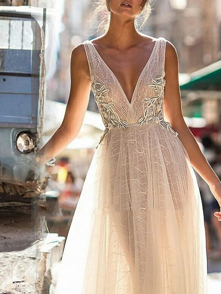 A-Line Wedding Dresses V Neck Floor Length Tulle Regular Straps Boho Illusion Detail Plus Size Backless_3