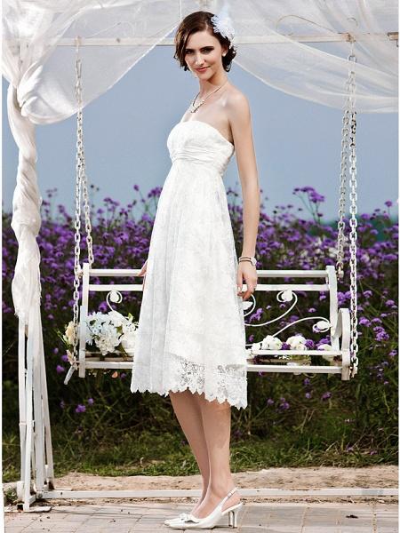 Princess A-Line Wedding Dresses Strapless Tea Length Lace Sleeveless Little White Dress_3