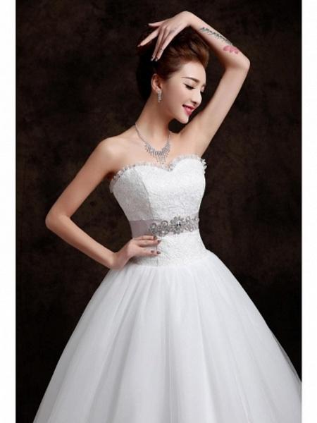 Ball Gown Wedding Dresses Sweetheart Neckline Floor Length Organza Tulle Sleeveless_4
