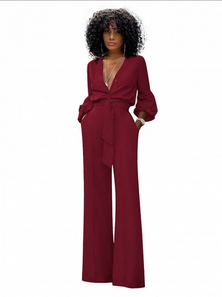 Women's Red Blue Black Wide Leg Slim Romper_3