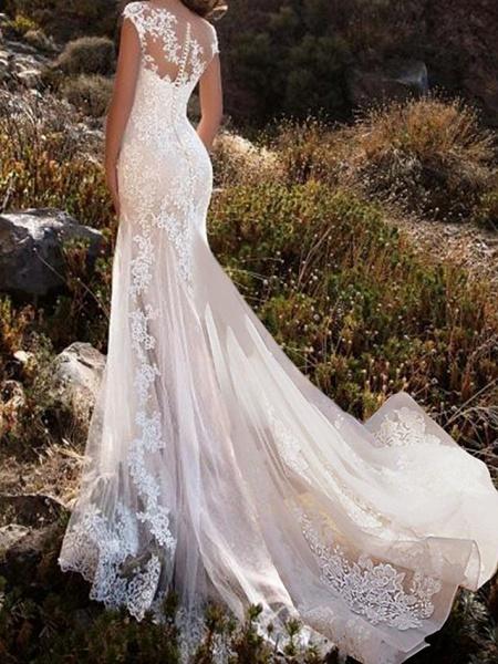 Mermaid \ Trumpet Wedding Dresses Jewel Neck Chapel Train Lace Tulle Sleeveless Glamorous_2