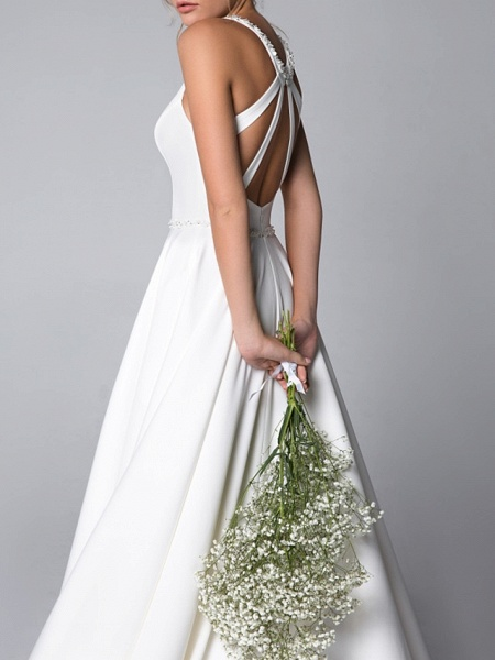A-Line Wedding Dresses Halter Neck Sweep \ Brush Train Satin Spaghetti Strap_2