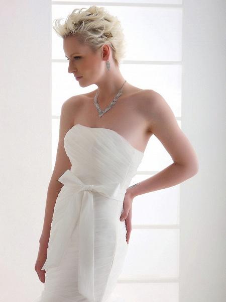 Mermaid \ Trumpet Wedding Dresses Strapless Court Train Organza Satin Sleeveless_7