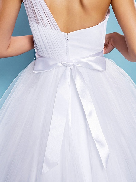 Ball Gown Wedding Dresses One Shoulder Court Train Tulle Sleeveless_8