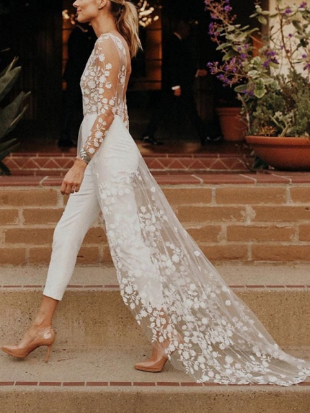Jumpsuits A-Line Wedding Dresses Jewel Neck Sweep \ Brush Train Lace Satin Long Sleeve Sexy See-Through Modern_2