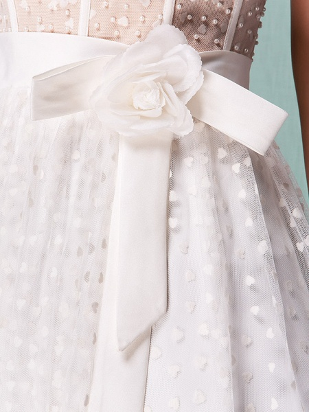 Princess A-Line Wedding Dresses Sweetheart Neckline Knee Length Tulle Strapless Little White Dress_10