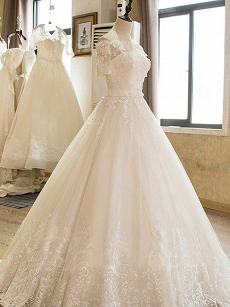 Ball Gown Off Shoulder Court Train Lace Tulle Long Sleeve Formal Wedding Dresses_3