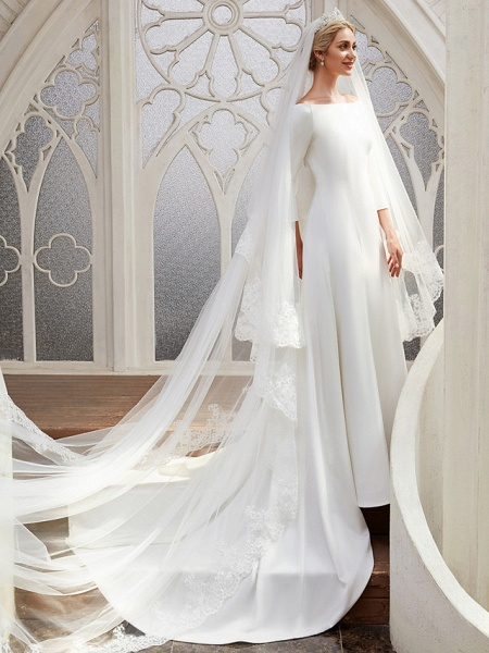 A-Line Wedding Dresses Bateau Neck Chapel Train Satin 3\4 Length Sleeve Elegant_7