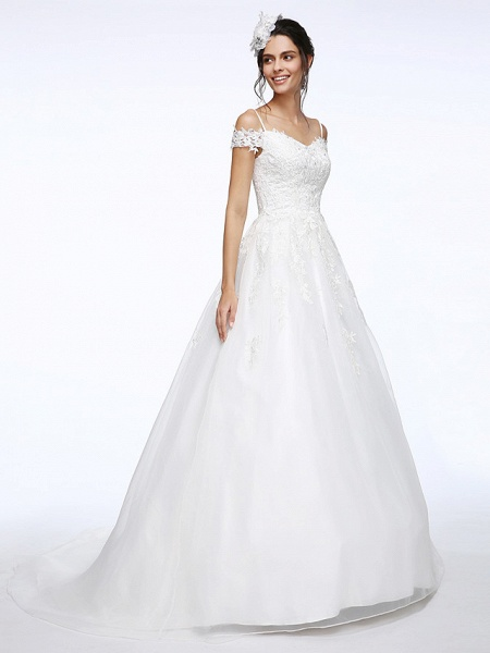 Ball Gown Wedding Dresses Off Shoulder Court Train Organza Beaded Lace Short Sleeve_3