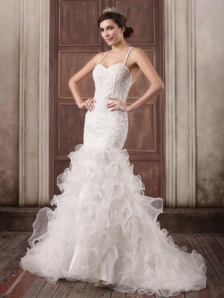 Mermaid \ Trumpet Sweetheart Neckline Court Train Lace Organza Satin Spaghetti Strap Sexy Illusion Detail Backless Wedding Dresses_1