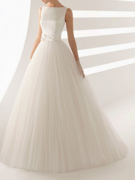 Ball Gown Wedding Dresses Bateau Neck Sweep \ Brush Train Satin Tulle Regular Straps Simple Backless_1