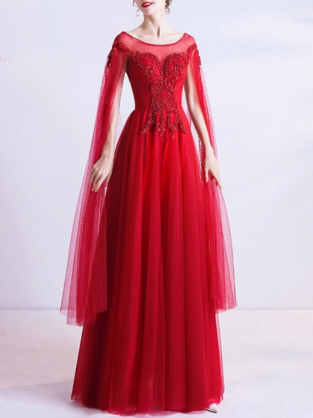 A-Line Wedding Dresses Jewel Neck Floor Length Organza Cap Sleeve Romantic Plus Size Red_1