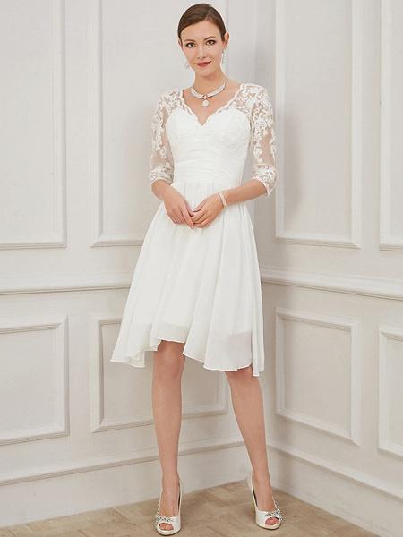 A-Line Wedding Dresses V Neck Knee Length Chiffon Lace Half Sleeve Formal Plus Size Illusion Sleeve_5