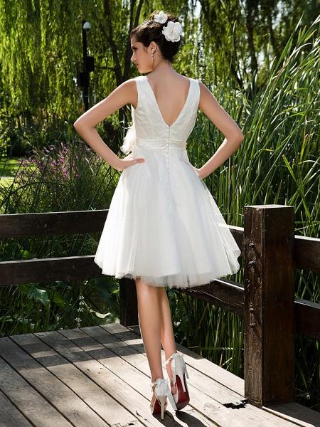 Ball Gown Wedding Dresses V Neck Knee Length Tulle Sleeveless See-Through_2