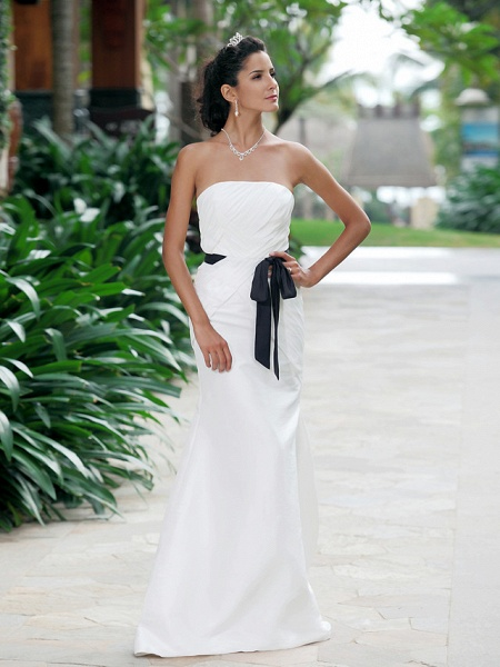 Mermaid \ Trumpet Wedding Dresses Strapless Sweetheart Neckline Floor Length Taffeta Sleeveless Wedding Dress in Color_1