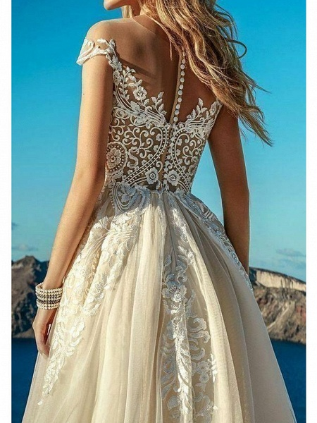 A-Line Sweetheart Neckline Sweep \ Brush Train Polyester Short Sleeve Country Plus Size Wedding Dresses_3
