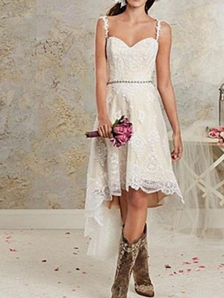 A-Line Wedding Dresses Spaghetti Strap Asymmetrical Lace Tulle Sleeveless Country Plus Size_1