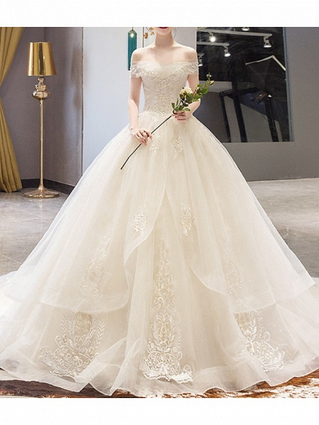 A-Line Wedding Dresses Off Shoulder Court Train Lace Sleeveless Casual Illusion Detail Plus Size_1