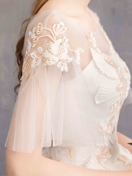 Ball Gown Wedding Dresses Bateau Neck Maxi Lace Tulle Short Sleeve Glamorous See-Through Backless_8