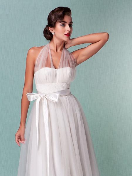 A-Line Wedding Dresses Halter Neck Knee Length Satin Tulle Regular Straps Casual Vintage Little White Dress Plus Size_7