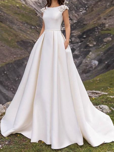 A-Line Wedding Dresses Jewel Neck Sweep \ Brush Train Satin Cap Sleeve Country Plus Size_1