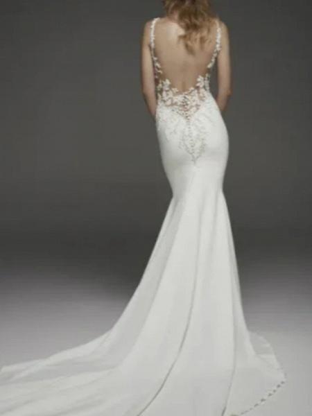 Mermaid \ Trumpet Wedding Dresses Jewel Neck Court Train Lace Charmeuse Regular Straps Formal Plus Size_1