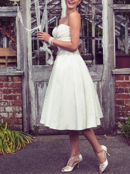 A-Line Wedding Dresses Strapless Tea Length Taffeta Half Sleeve Sleeveless Vintage Sexy Wedding Dress in Color_1