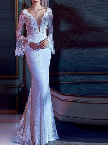 Mermaid \ Trumpet Wedding Dresses V Neck Court Train Lace Tulle Long Sleeve Illusion Sleeve_1