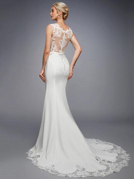 Mermaid \ Trumpet Wedding Dresses Bateau Neck Court Train Chiffon Lace Regular Straps Sexy Illusion Detail Backless_2
