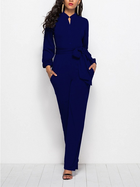 Women's Ordinary \ Business Wine Black Red Jumpsuit_4