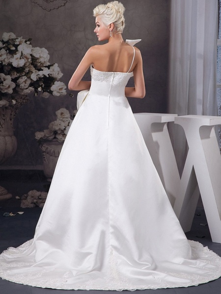 A-Line One Shoulder Court Train Lace Organza Satin Spaghetti Strap Wedding Dresses_3
