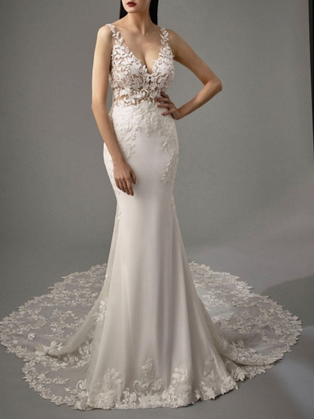 A-Line V Neck Sweep \ Brush Train Lace Georgette Sleeveless Sexy Backless Wedding Dresses_3
