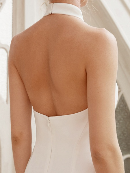 Sheath \ Column Wedding Dresses Halter Neck Court Train Chiffon Satin Regular Straps Simple Backless Elegant_9