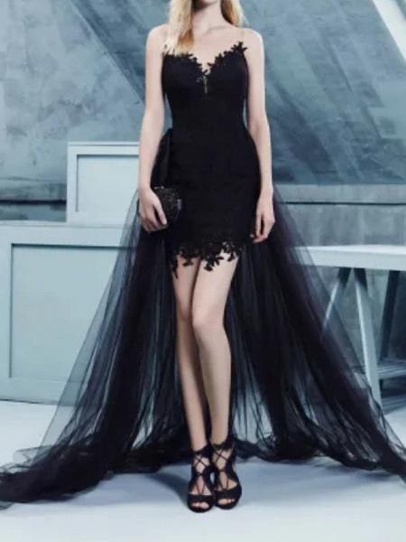 Sheath \ Column Wedding Dresses Strapless Sweep \ Brush Train Polyester Strapless Formal Plus Size Black_1