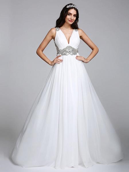 A-Line Wedding Dresses V Neck Sweep \ Brush Train Chiffon Regular Straps Country Romantic Glamorous Sparkle & Shine Plus Size Backless_4