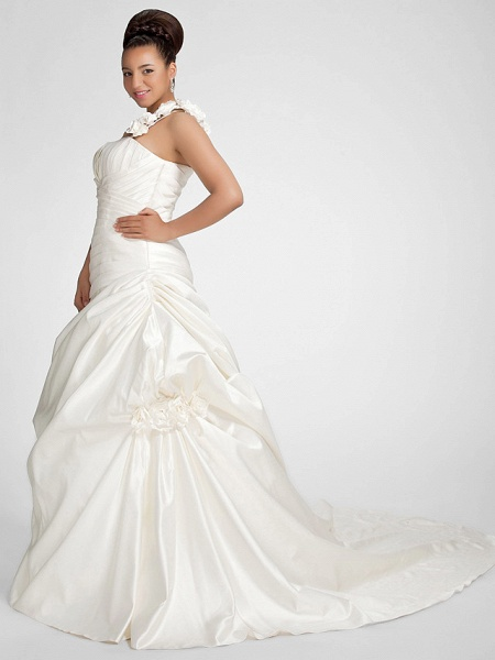 A-Line Wedding Dresses One Shoulder Sweep \ Brush Train Satin Strapless Formal Simple Little White Dress Plus Size_8