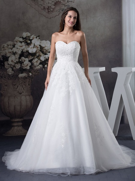 A-Line Sweetheart Neckline Court Train Lace Tulle Strapless Wedding Dresses_1