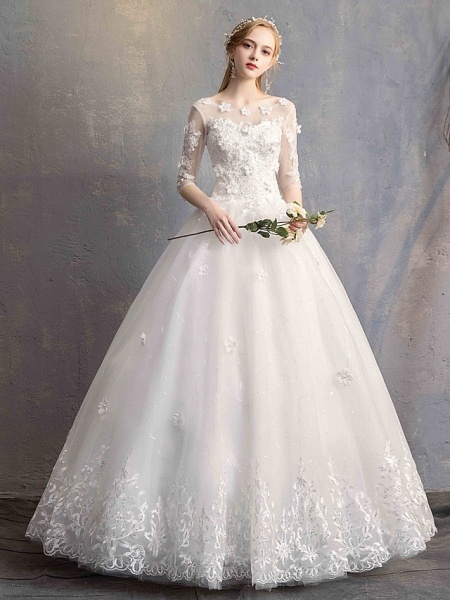 Ball Gown Wedding Dresses Scoop Neck Floor Length Lace Tulle Lace Over Satin Half Sleeve Country Vintage Illusion Sleeve_5