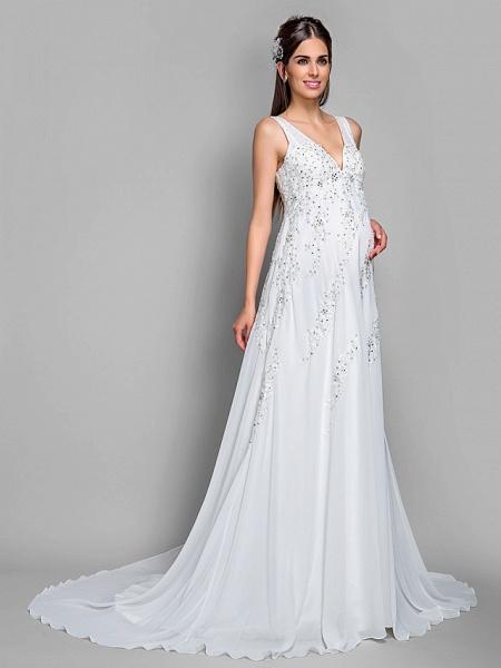 A-Line V Neck Court Train Chiffon Lace Regular Straps Glamorous Illusion Detail Backless Wedding Dresses_3