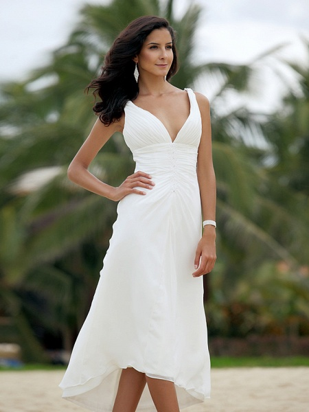 A-Line Wedding Dresses V Neck Asymmetrical Chiffon Spaghetti Strap Formal Casual Backless_5
