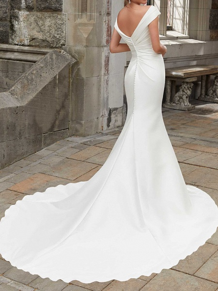 Mermaid \ Trumpet Wedding Dresses Off Shoulder Sweep \ Brush Train Polyester Cap Sleeve Country Plus Size_2